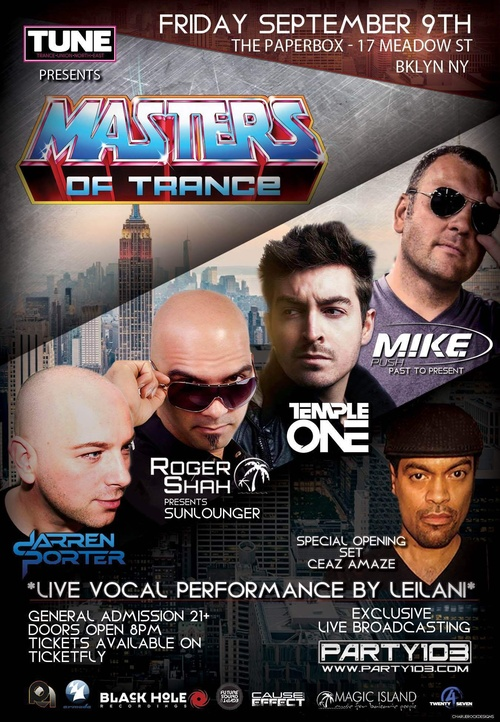 TUNE presents MASTERS OF TRANCE | FRIDAY SEPTEMBER 9TH